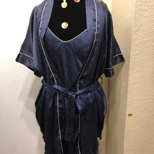 Blue polka dots Silky Night Gown Set!!!